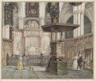 Het hoogkoor in de Nieuwe Kerk met de kleine preekstoel en de graftombe van Mich…