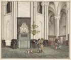 Het interieur van de Nieuwe Kerk. De ingang van de grafkelder van Michiel de Ruy…