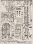 Litho van het zuidportaal van de Oude Kerk aan het Oudekerksplein