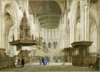 Interieur van de Nieuwe Kerk gezien naar het koor