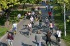 Fietsers in het Vondelpark tijdens de autoloze zondag 2007