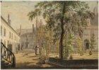 Binnenplaats Leprozenhuis, Lazurussteeg met links in het verschiet het dak van d…