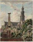 Gezicht op de Westerkerk en omgeving gezien van uit een huis aan de Leliegracht …