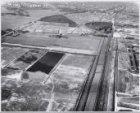 Luchtfoto naar het noorden van het opgespoten bouwterrein Bullewijk