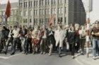 Demonstratie '1 mei = rood' georganiseerd door Socialistische Jeugd en studenten…