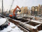 Bouwput in de Korte Prinsengracht in wintertooi gezien in noordwestelijke richti…