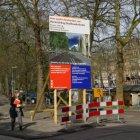 Voorlichtingsbord van de gemeente Amsterdam betreffende de herinrichting van de …