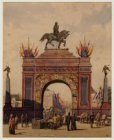 25-jarig regeringsjubileum koning Willem III. Erepoort op het Rembrandtplein. Te…