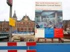 Bouwput voor de aanleg van de Noord/Zuid-metrolijn in het Open Havenfront gezien…