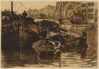 Turfschepen in de Oude Schans gezien vanuit het drijvend atelier van de kunstena…