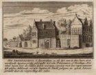 Het Leprozenhuis zoals het was in 1608. Kopie naar de prent van Rademaker. Techn…
