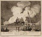 Het verbranden van het Oorlogschip Kenmerland den 25 Augustus 1778