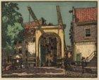 De Basculebrug voor de Staalstraat over de Groenburgwal Achter de brug het hoekh…