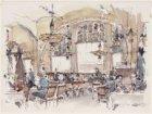 De leestafel in Café Americain, Leidseplein 28. Techniek: penseel in kleur