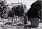 Rijnsburgstraat 51, de gesloten begraafplaats Huis te Vraag. Op de achtergrond h…