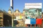 Een metrocaisson met bouwwerkzaamheden voor de aanleg van de Noord/Zuidlijn