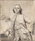 Portret van Evert de Burlett, ten halve lijve, leunend op een lezenaar, waarop k…