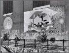 Waterlooplein 59. Wanddecoraties op de zijgevel van de Mozes en Aäronkerk