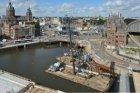 Vogelvlucht van de Prins Hendrikkade, het Oosterdok, het Open Havenfront en het …