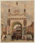 25-jarig regeringsjubileum koning Willem III. Erepoort op de Dam