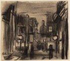 De Sint Luciënsteeg, ziende naar de Nieuwezijds Voorburgwal bij avond. Getekend …