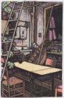 Interieur van een kamer met een ladder, een tafel en stoelen, Sint Jacobsstraat …