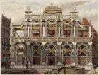 Bezoek koning Willem III en koningin Emma. Rokin naar Dam gezien met versiering …
