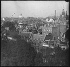Vogelvlucht vanaf het dak van gebouw Felix Meritis aan de Keizersgracht, gezien …