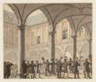 Bezoek van koning Willem I aan de Beurs van Hendrick de Keyser. Techniek: pensee…