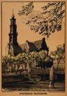 De Westerkerk op de Westermarkt gezien over de Keizersgracht. Techniek: litho en…