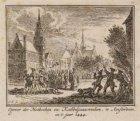 Oproer van de Hoekse en Kabeljauwen op de Dam in Amsterdam gezien naar de noordw…