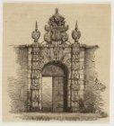 Poort van de Agnietenkapel, Oudezijds Voorburgwal 231. Houtgravure