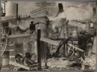 Foto van een collage met foto's en krantenknipsels over de branden in 1932