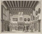 Het decor 'De ouderwetsche Burgerkamer' in de oude stadsschouwburg aan het Leids…