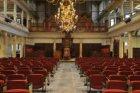 Interieur Oude Lutherse Kerk, Singel 411. Zicht op de kansel en het orgel