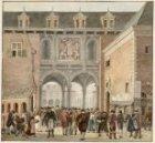 De toegang tot de over het Rokin gebouwde Beurs van Hendrick de Keyser, aan de k…