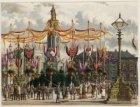 Bezoek koning Willem III en koningin Emma. Versiering op de Dam ter gelegenheid …