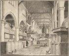 Het interieur van de Waalse Kerk, Oudzijds Achterburgwal 159, gezien naar het or…