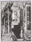 Tekening in gombatik van een beeld van een vissersvrouw aan de brug tussen de Sa…