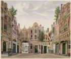 Het toneel van de oude schouwburg op het Leidseplein met het decor 'De Burgerbuu…