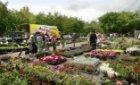 Bloemenmarkt op het Amstelveld op maandagmorgen