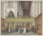 Het interieur van de Nieuwe Kerk, gezien vanuit het koor naar het koorhek en op …