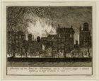 Afbeelding van de Brand des Schouwburgs; Van de Keizers-gragt 's avonds tuschen …