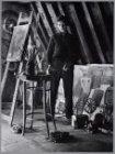 Karel Appel in zijn atelier aan de Oudezijds Achterburgwal