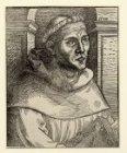 Maarten Luther (1483-1546). Borstbeeld rechts, als monnik met boek in de handen.…