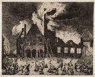 Het Oude Stadhuis tijdens de brand op 7 juli 1652