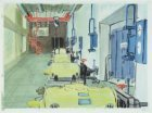 IJ-Tunnel. Ventilatiegebouw Noord. Techniek: penseel in kleur