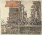 De Joden Houttuinen gezien vanaf de Sint Antoniesluis. Tekening door Herman Heuf…