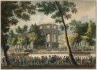 De Luthersche Nieuwe Kerk in brand. Situatie tegen het einde. Anonieme tekening …