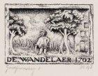 Gevelsteen 'De Wandelaar' (anno 1702), Gordijnensteeg 1. Techniek: pen in oost-i…